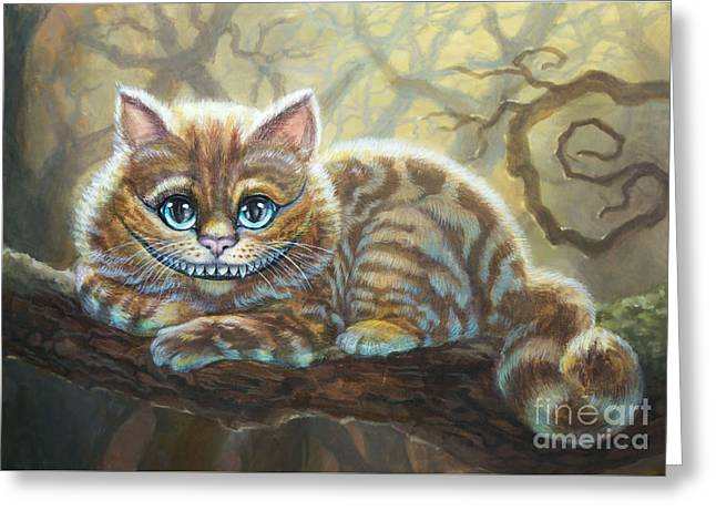 Sunny Cheshire Cat Greeting Card by Irina Effa