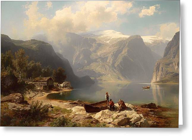 Norwegian Boathouses Greeting Cards - Sunny Day At A Norwegian Fjord Greeting Card by August Wilhem Leu