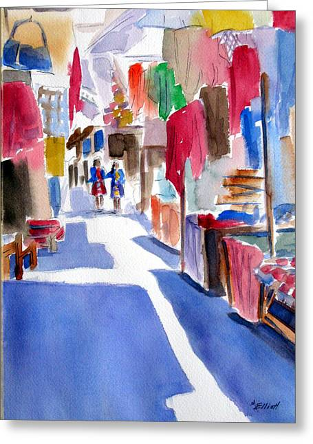 Peru Greeting Cards - Sunny Day at the Market Greeting Card by Marsha Elliott