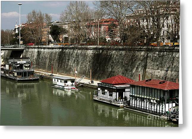 Boats On Water Greeting Cards - Sunny Day on the Tiber Greeting Card by John Rizzuto