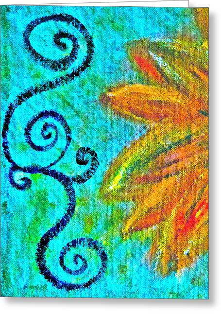 Flower Design Greeting Cards - Sunny day yellow Greeting Card by Gwyn Newcombe