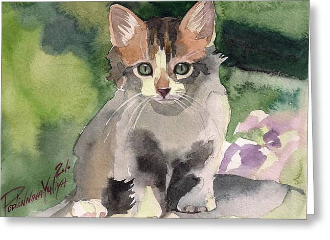 Calico Greeting Cards - Sunny Day Greeting Card by Yuliya Podlinnova