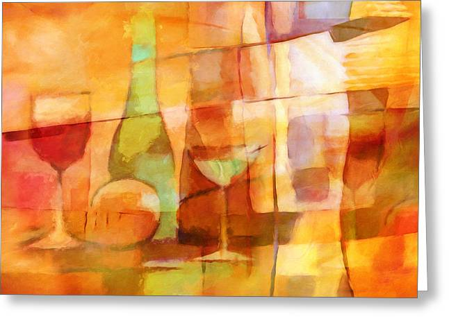 Table Wine Greeting Cards - Sunny Dining Greeting Card by Lutz Baar