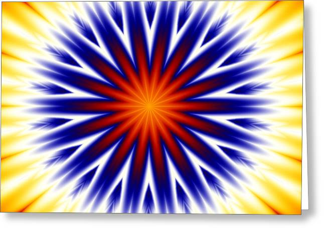 Kaleidoscope Greeting Cards - Sunny Fractal Tie Dye Greeting Card by Ruth Moratz