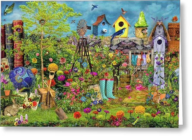 Birdwatching Greeting Cards - Sunny Garden Delight Greeting Card by Aimee Stewart