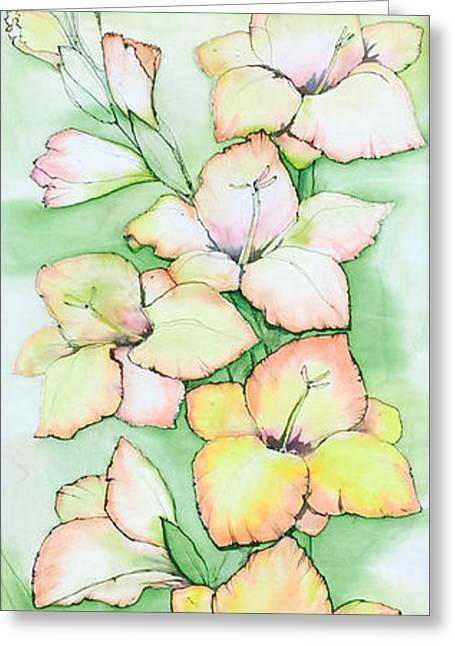 Plant Tapestries - Textiles Greeting Cards - Sunny Garden Greeting Card by Natalya Zaytseva