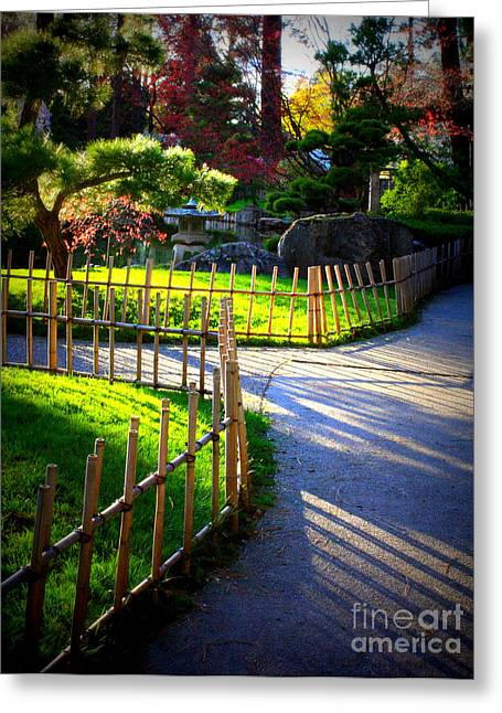 Streaming Light Greeting Cards - Sunny Garden Path Greeting Card by Carol Groenen