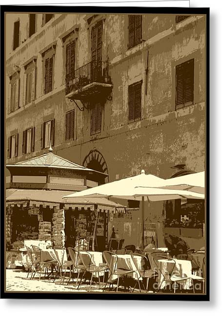 Table And Chairs Greeting Cards - Sunny Italian Cafe - Sepia Greeting Card by Carol Groenen
