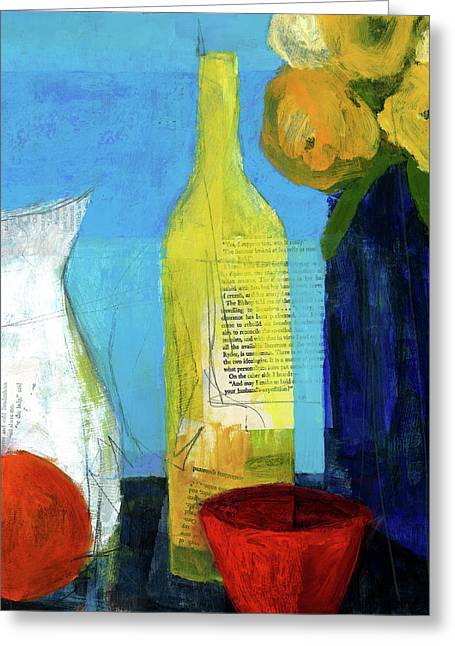 Pitcher Mixed Media Greeting Cards - Sunny Kitchen Greeting Card by Laurie Breen