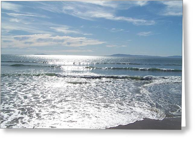 Rincon Beach Greeting Cards - Sunny Ocean Sky Greeting Card by Michelle LaRue