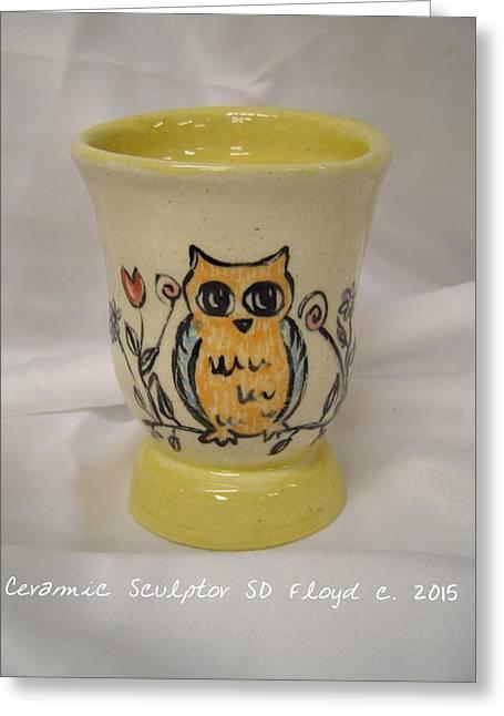 Flower Ceramics Greeting Cards - Sunny Owl Greeting Card by Sandi Floyd