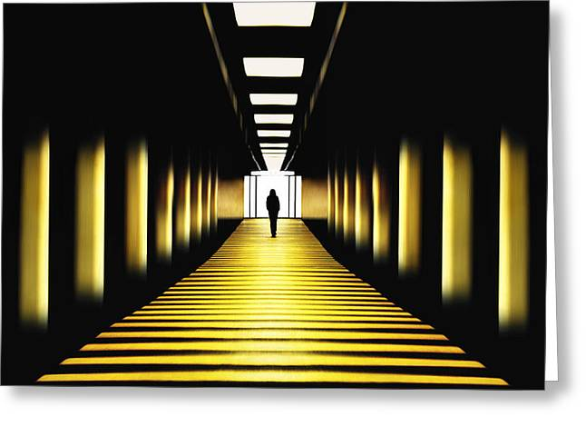 Yellow Line Photographs Greeting Cards - Sunny Path Greeting Card by Samanta