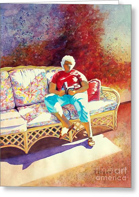 Purple Couch Greeting Cards - Sunny Retreat 3 Greeting Card by Kathy Braud