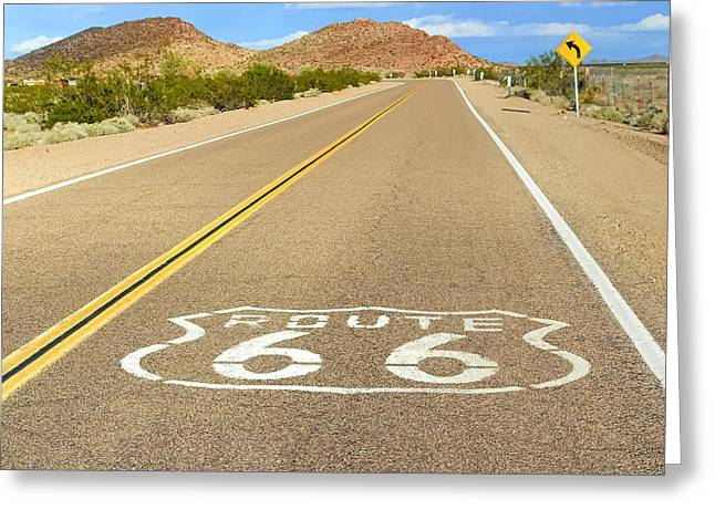 Route 66 Greeting Cards - Sunny Route 66 Greeting Card by Lutz Baar