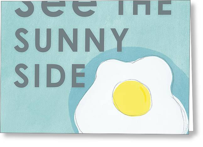 Dine Mixed Media Greeting Cards - Sunny Side Greeting Card by Linda Woods