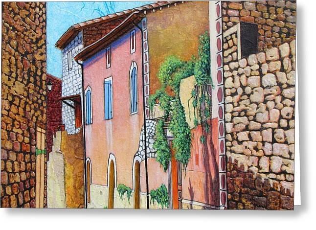 Southern France Mixed Media Greeting Cards - Sunny Side of the Street Greeting Card by Pamela Iris Harden