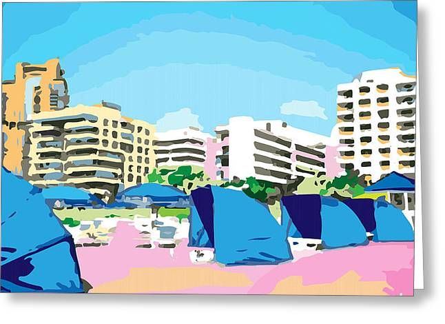 Inge Lewis Greeting Cards - Sunny South Beach Miami Greeting Card by Inge Lewis