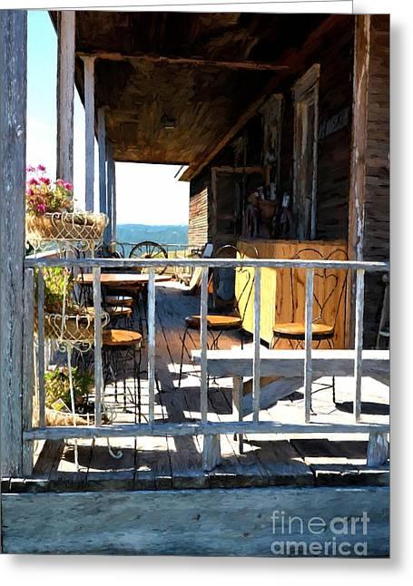 Wagon Wheels Greeting Cards - Sunny South dakota Porch Greeting Card by Mel Steinhauer