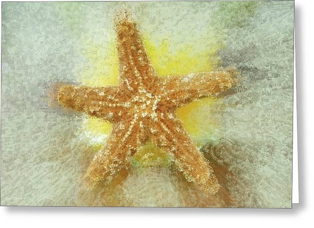 Beach Photograph Digital Greeting Cards - Sunny Star Greeting Card by Linda Sannuti