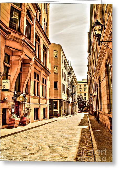Entrance Door Greeting Cards - Sunny street in old Montreal Greeting Card by Claudia Mottram