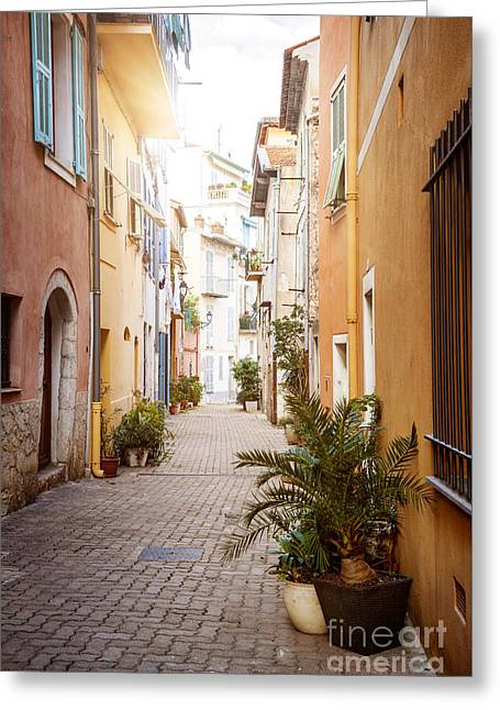 Southern Europe Greeting Cards - Sunny street in Villefranche-sur-Mer Greeting Card by Elena Elisseeva