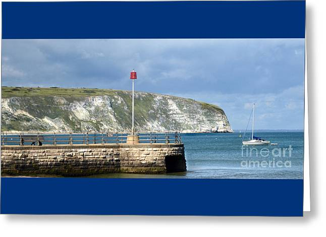Throw Down Greeting Cards - Sunny Swanage Dorset UK Greeting Card by Linsey Williams