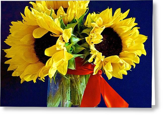 Fiori Sun Greeting Cards - Sunny Trio Greeting Card by Barbara Zahno
