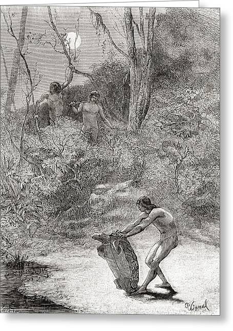 Ethnic Drawings Greeting Cards - Sunos Indians Hunting Freshwater Greeting Card by Ken Welsh