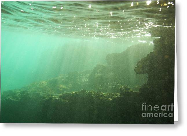 Sunrays Penetrating Underwater Cave Greeting Card by Sami Sarkis
