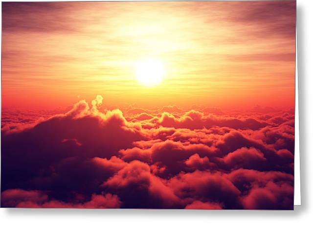 Cloudscape Greeting Cards - Sunrise above the clouds Greeting Card by Johan Swanepoel