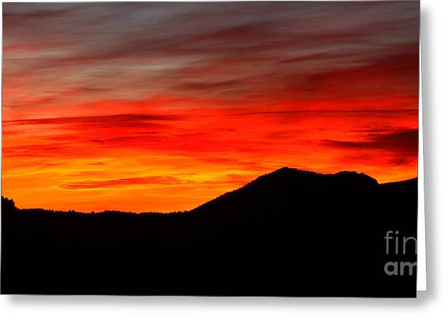 Sunrise Against Mountain Skyline Greeting Card by Max Allen