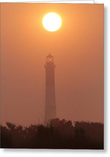 Long Island Photographs Greeting Cards - Sunrise and Fire Island Light Greeting Card by Christopher Kirby