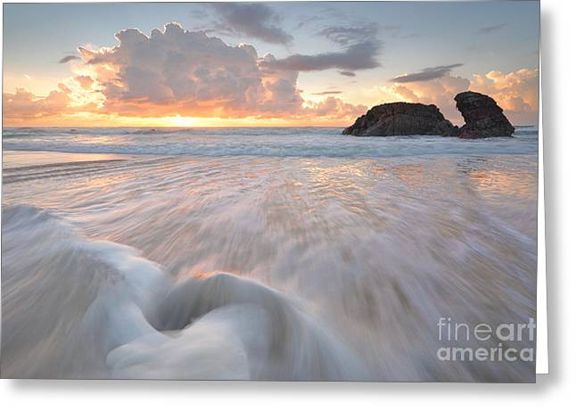 Geology Photographs Greeting Cards - Sunrise  and Ocean flows at Watonga Rocks Greeting Card by Leah-Anne Thompson