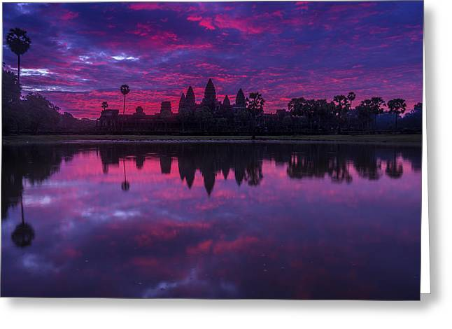 Sunrise Angkor Wat Reflection Greeting Card by Mike Reid