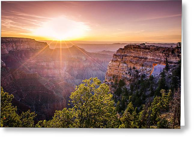 North Rim Greeting Cards - Sunrise at Angels Window Grand Canyon Greeting Card by Scott McGuire