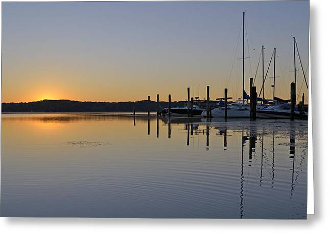Sailboats Docked Greeting Cards - Sunrise at Belle Haven Marina in Alexandria Virginia Greeting Card by Brendan Reals