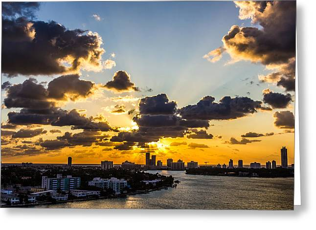 The North Pyrography Greeting Cards - Sunrise at Biscayne Bay Greeting Card by Satoshi Kina
