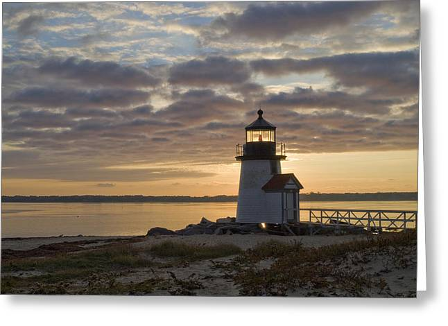 Sunrise At Brant Point Nantucket Greeting Card by Henry Krauzyk