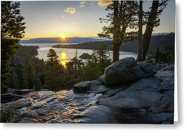 Scenic Vista Greeting Cards - Sunrise at Emerald Bay in Lake Tahoe Greeting Card by James Udall