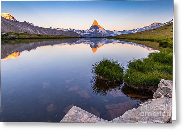Mountain Valley Greeting Cards - Sunrise at Lake Stellisee Greeting Card by Alberto Perer