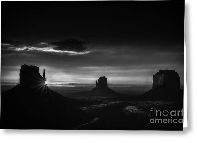The Plateaus Greeting Cards - Sunrise at Monument Valley in Black and White Greeting Card by Priscilla Burgers