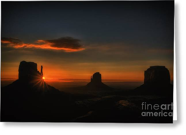 Geology Photographs Greeting Cards - Sunrise at Monument Valley Greeting Card by Priscilla Burgers