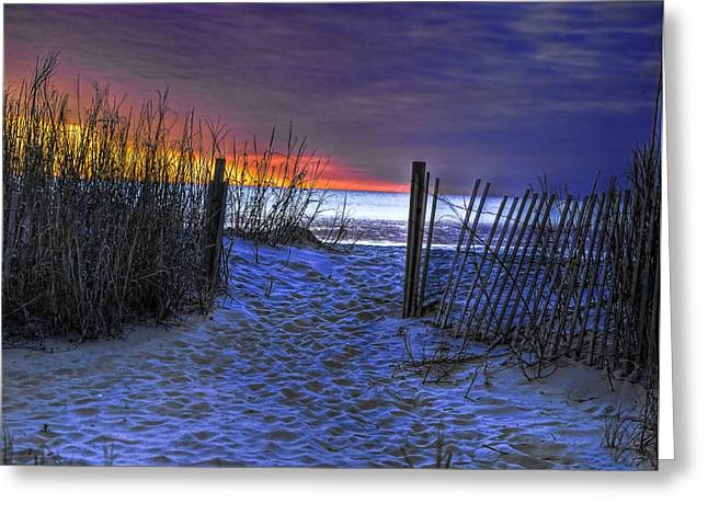 Myrtle Greeting Cards - Sunrise at Myrtle Beach SC Dunes Greeting Card by Joe Granita
