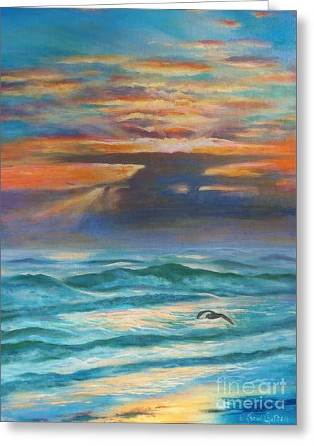 On The Beach Greeting Cards - Sunrise At Sea Greeting Card by Karen Kennedy Chatham