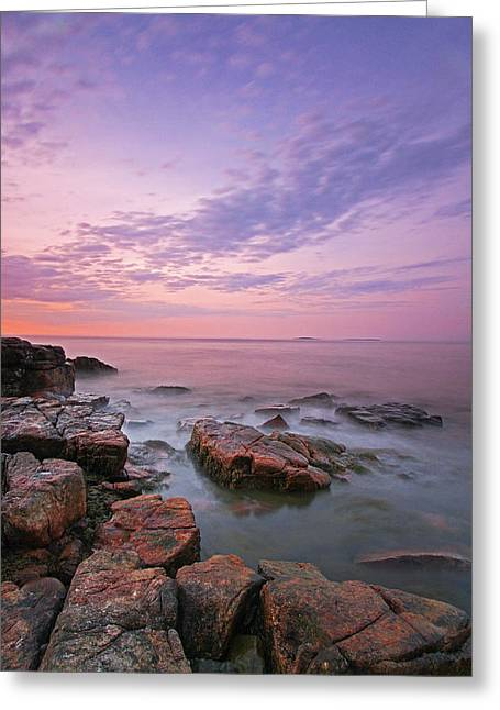 Seawall Greeting Cards - Sunrise at Seawall in Southwest Harbor Greeting Card by Juergen Roth