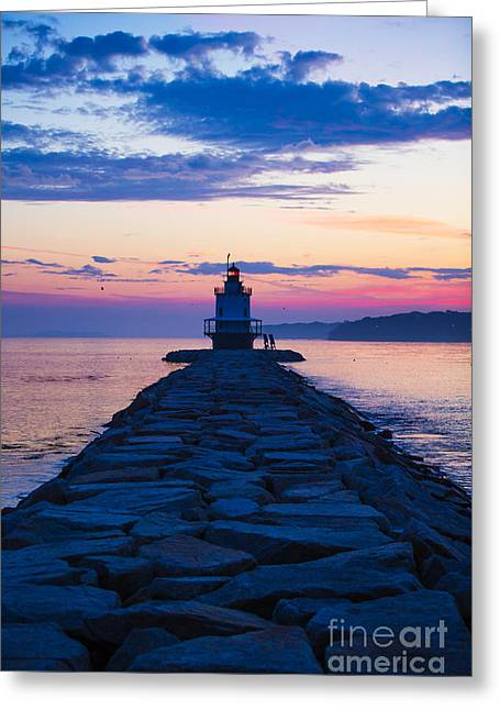 Maine Spring Greeting Cards - Sunrise at Spring Point Light Maine Greeting Card by Diane Diederich