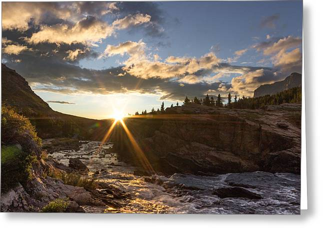 Waterfall Greeting Cards - Sunrise // Swiftcurrent, Glacier National Park Greeting Card by Nicholas Parker