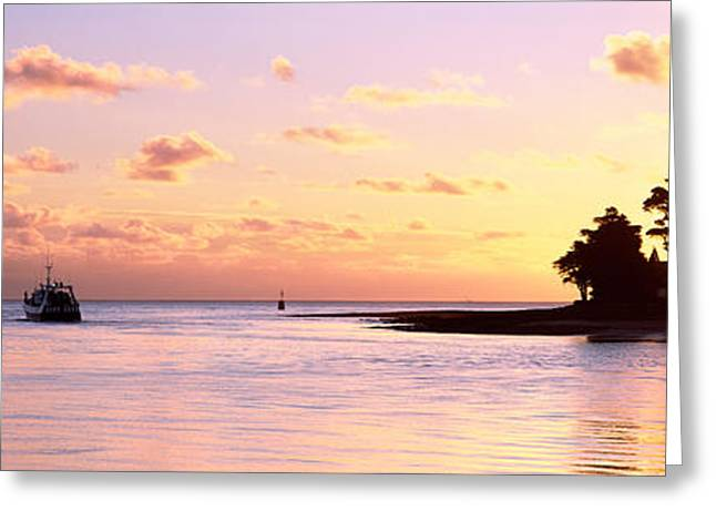 Boats In Harbor Greeting Cards - Sunrise At The Loctudy Harbour Greeting Card by Panoramic Images