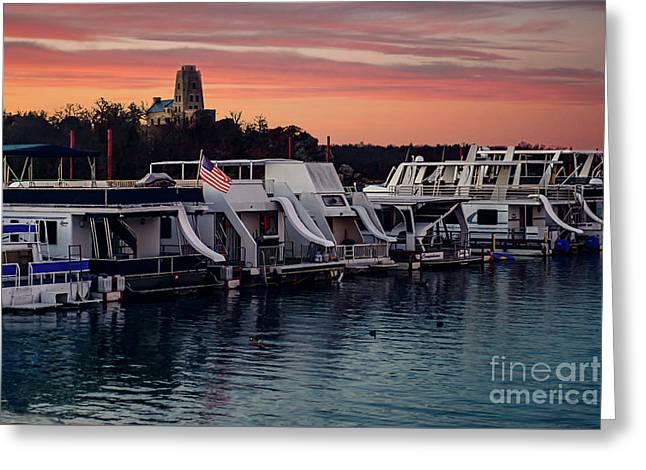 Lake Murray Sunrise At The Marina Greeting Card by Tamyra Ayles