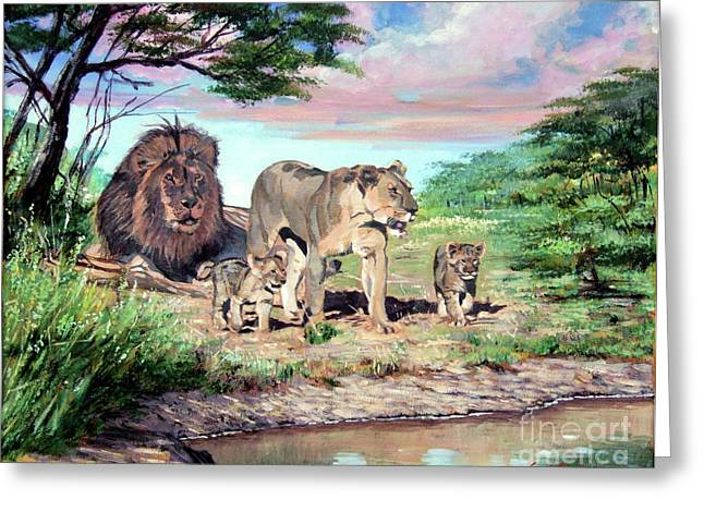 Lion Illustrations Greeting Cards - Sunrise at the Oasis Greeting Card by David Lloyd Glover